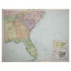 Large Original Vintage Map of the South Eastern States Inc. Florida, circa 1920
