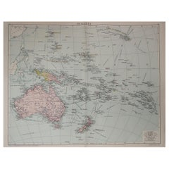 Large Original Vintage Map of The South Pacific, circa 1920