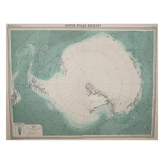 Large Original Vintage Map of The South Pole, circa 1920