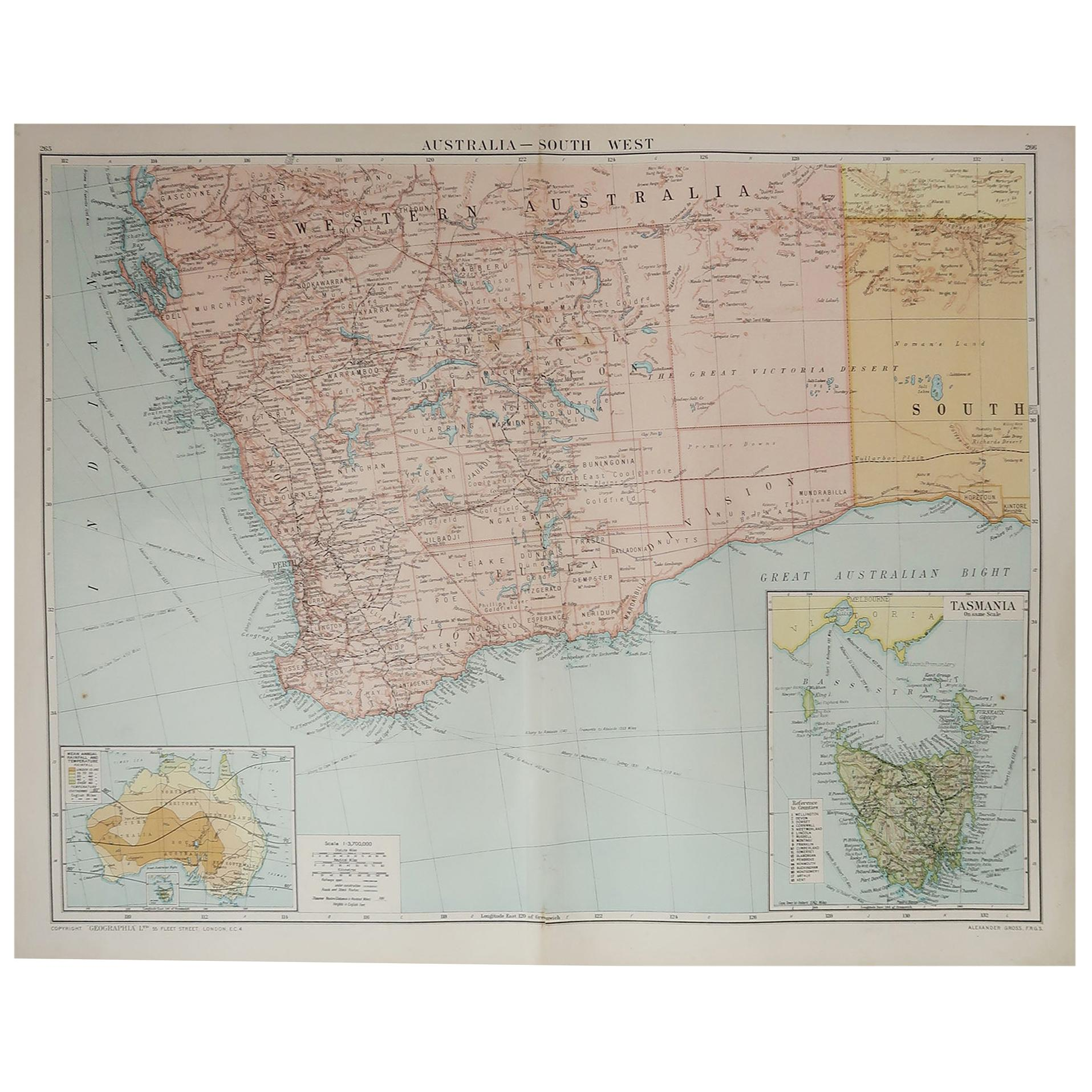 Large Original Vintage Map of Western Australia, circa 1920