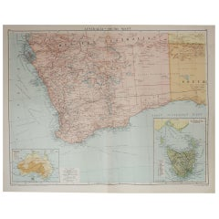 Large Original Vintage Map of Western Australia, circa 1920