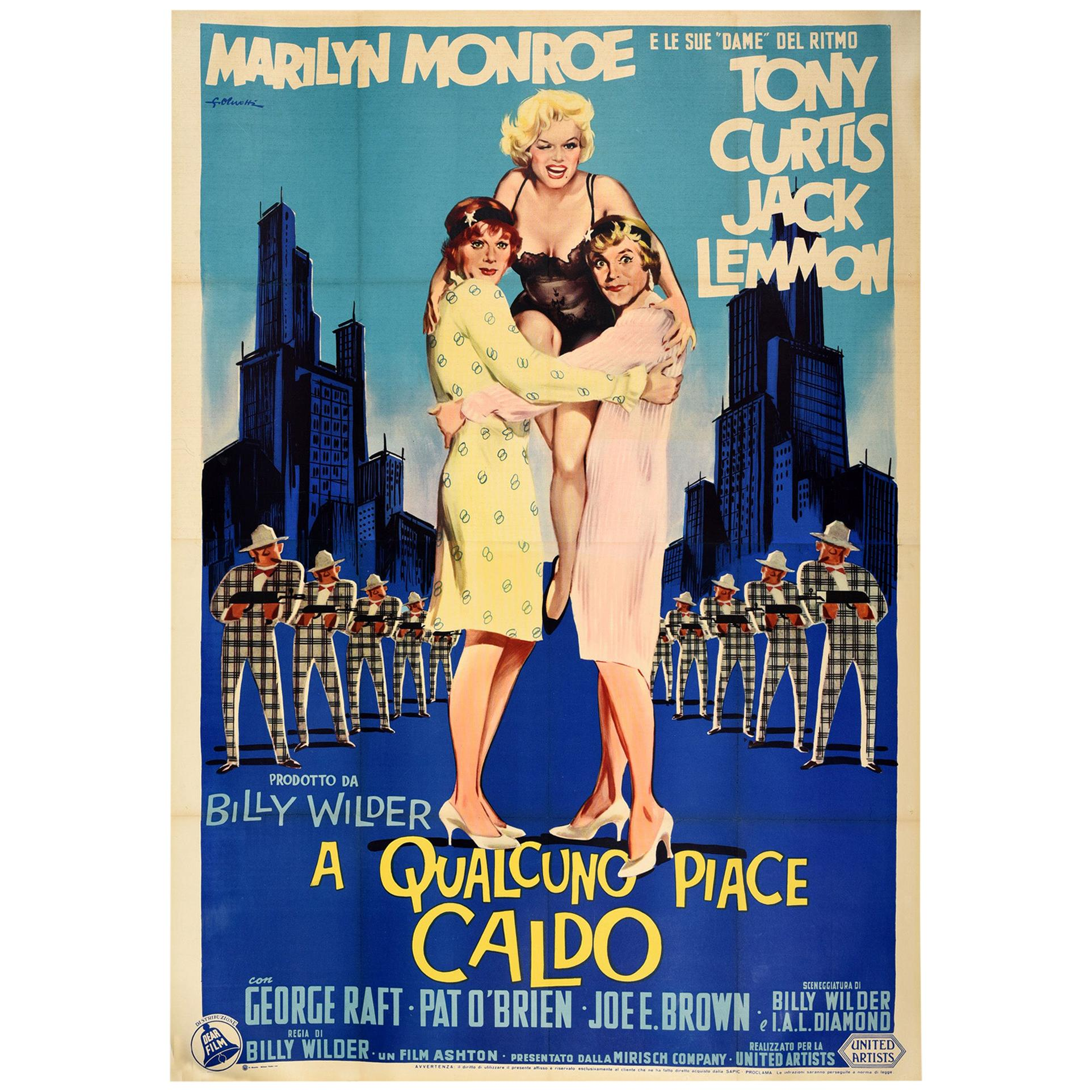 Large Original Vintage Movie Poster For Some Like It Hot Marilyn Monroe Film Art