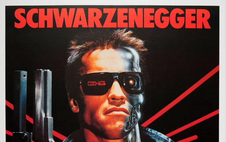 Original vintage movie poster for the Italian release in 1985 of the 1984 American science fiction film directed by James Cameron - The Terminator - starring Arnold Schwarzenegger in the lead role, Michael Biehn, Linda Hamilton as Sarah Connor, and