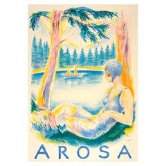 Large Original Vintage Swiss Travel Poster Arosa Summer Lake View by Hugo Laubi