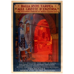 Large Original Vintage Wine Restaurant Poster for Dalla Rupe Tarpea Enotria Rome
