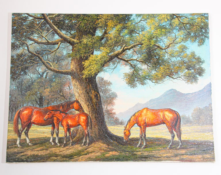 Large Original Wild Mustangs Horses Oil Painting For Sale 7