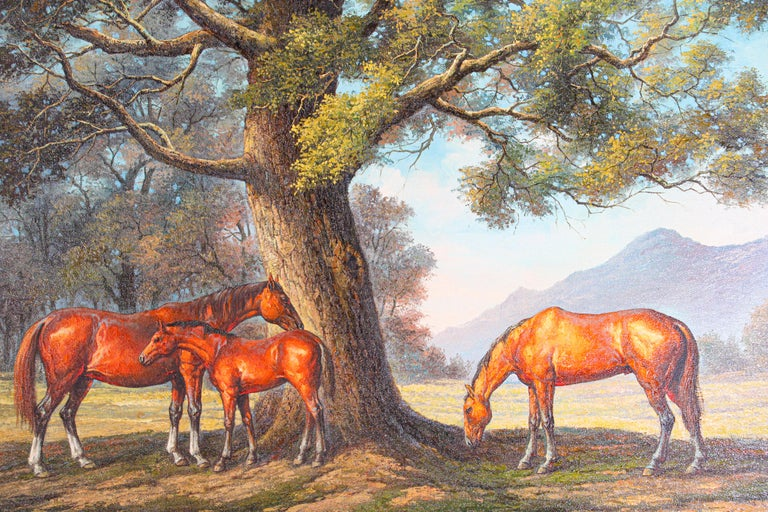 Large original horse oil painting on canvas. Contemporary oil painting of wild mustangs horses, not framed, canvas stretched on a wood frame.. Signed on the left corner.