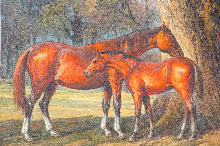 Folk Art Large Original Wild Mustangs Horses Oil Painting For Sale
