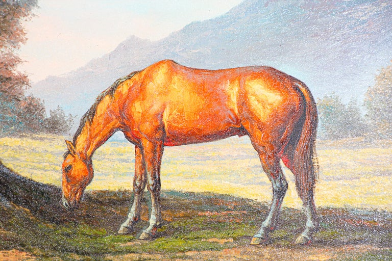 American Large Original Wild Mustangs Horses Oil Painting For Sale