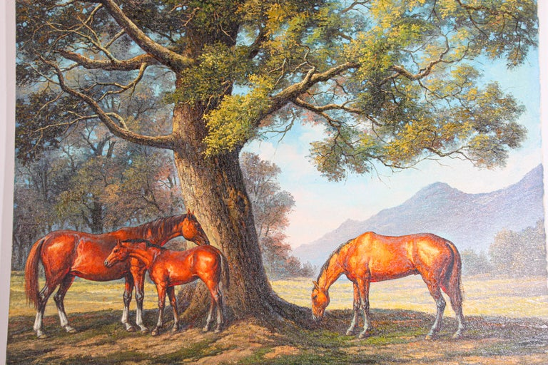 Large Original Wild Mustangs Horses Oil Painting In Good Condition For Sale In North Hollywood, CA