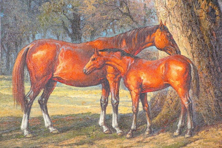 20th Century Large Original Wild Mustangs Horses Oil Painting For Sale