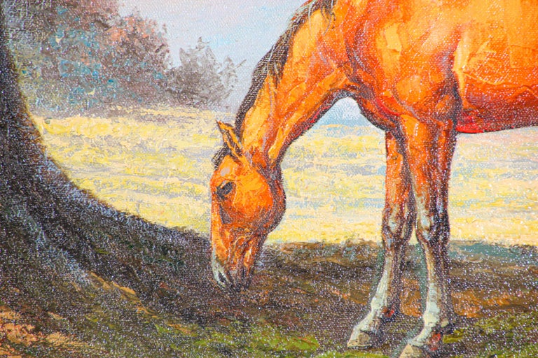 Large Original Wild Mustangs Horses Oil Painting For Sale 1
