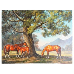 Large Original Wild Mustangs Horses Oil Painting