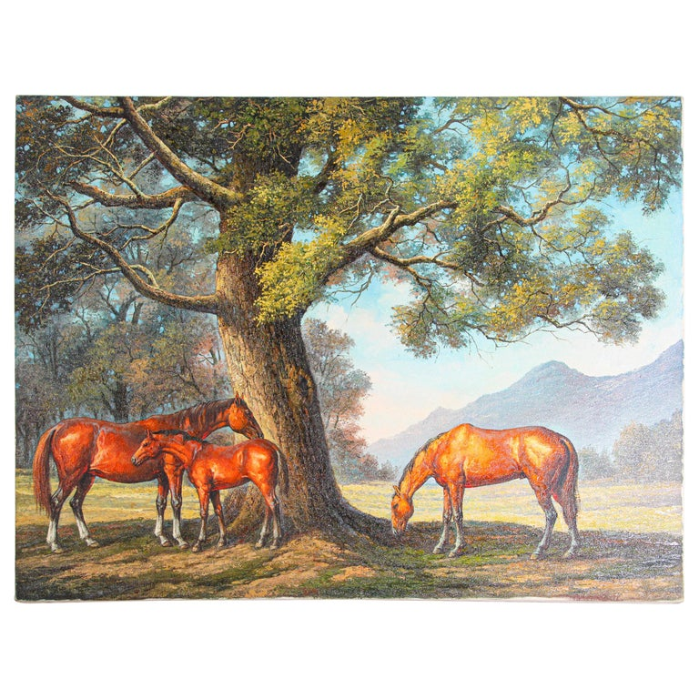 Large Original Wild Mustangs Horses Oil Painting For Sale