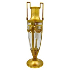 Large Orivit Gilt Metal Mounted Cut Crystal Vase in Neoclassical Style