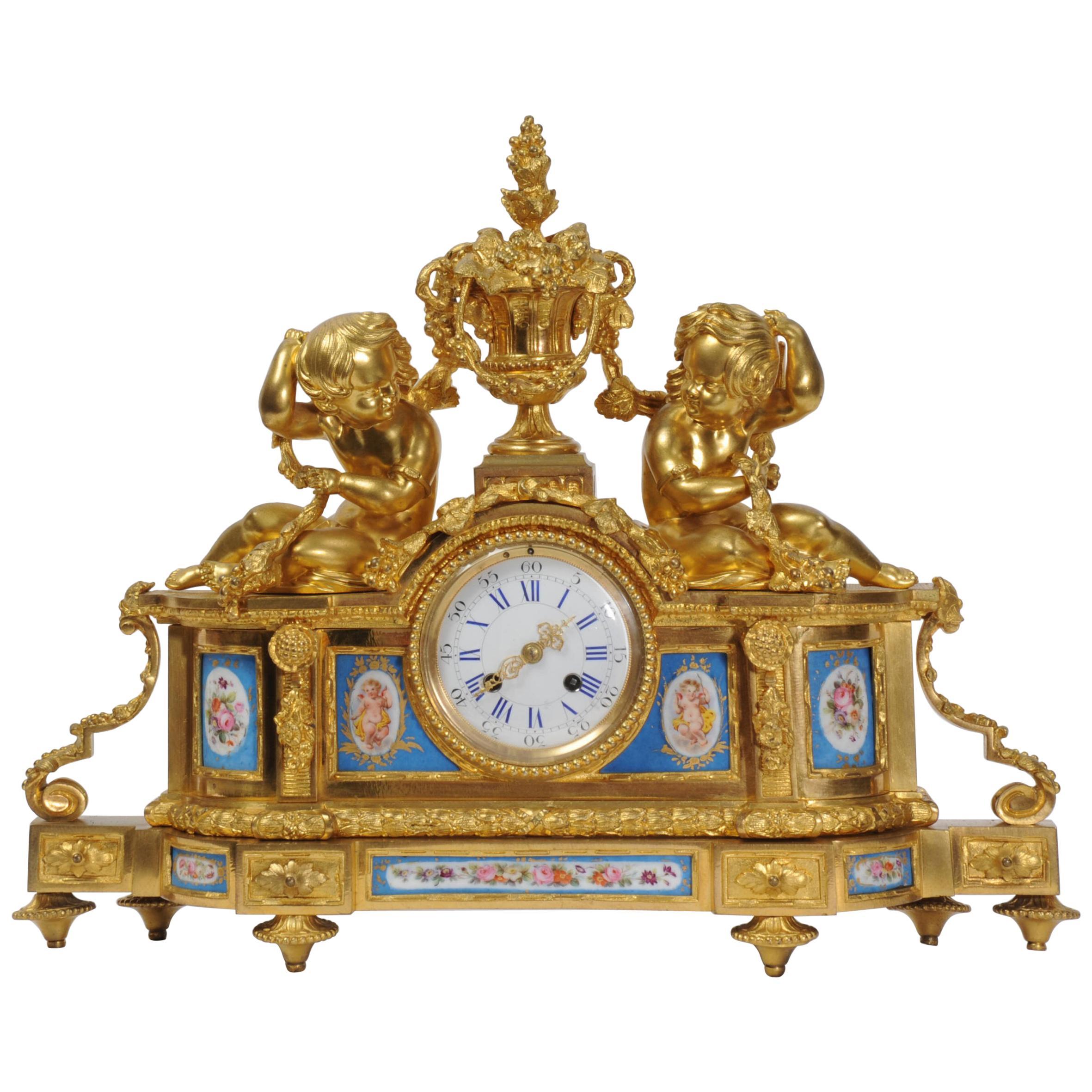 Large Ormolu and Sèvres Porcelain Antique French Clock, Wine Grapes Cherubs