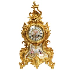Large Ormolu and Sevres Porcelain Antique French Rococo Clock