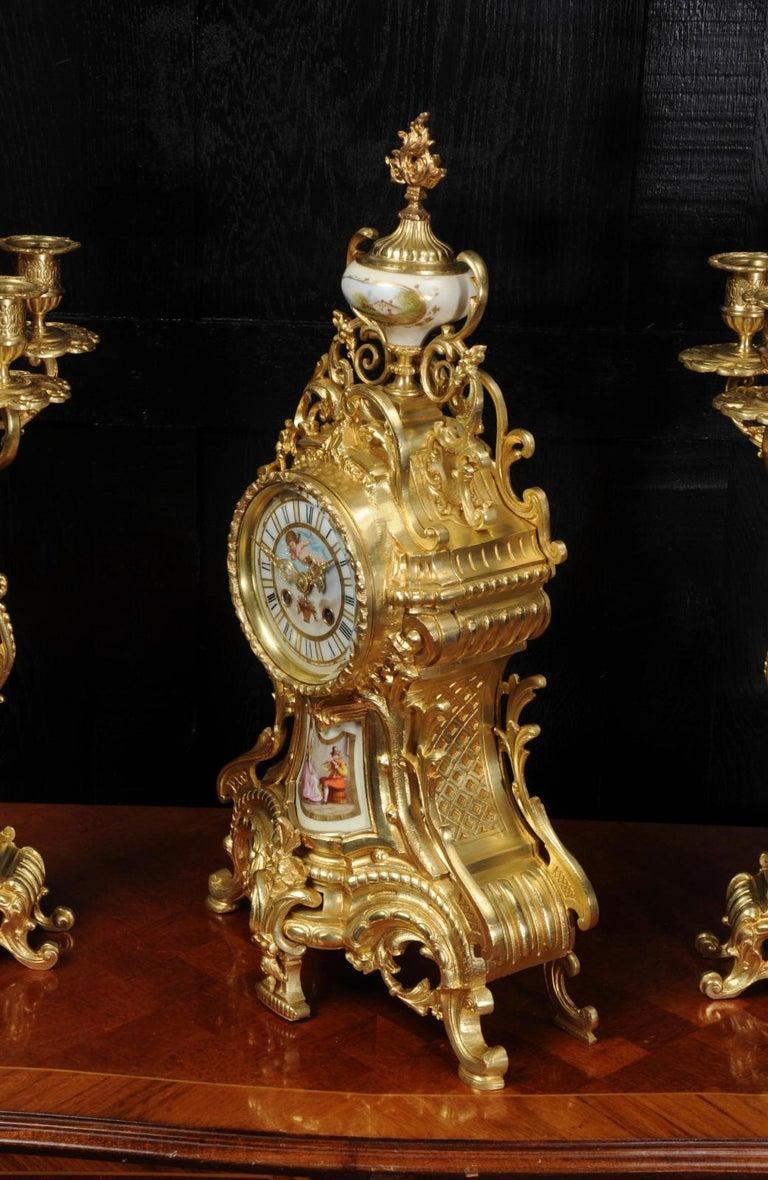 Large Ormolu and Sèvres Porcelain Rococo Antique Clock Set For Sale 4