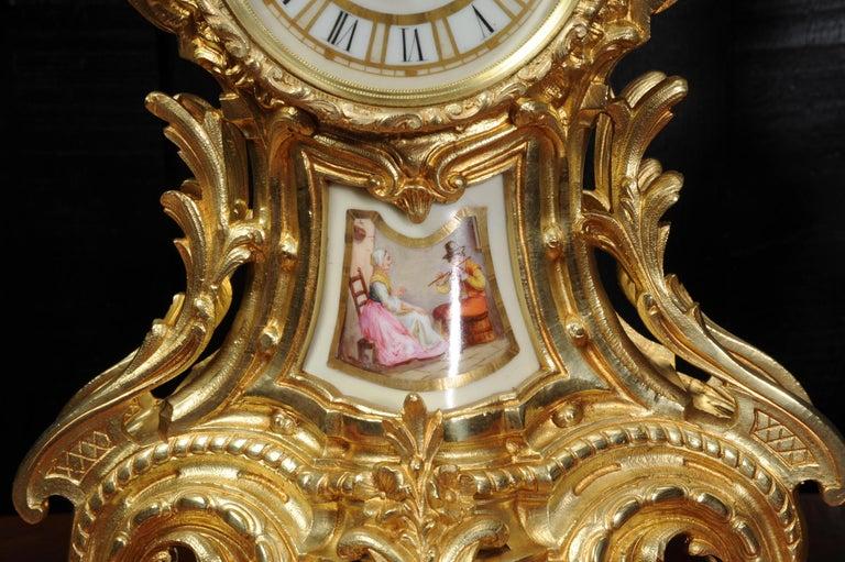 Large Ormolu and Sèvres Porcelain Rococo Antique Clock Set For Sale 8