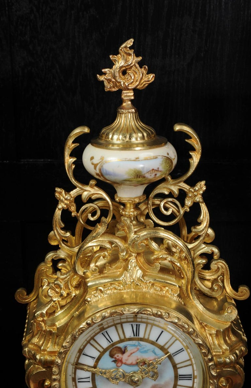 Large Ormolu and Sèvres Porcelain Rococo Antique Clock Set For Sale 9