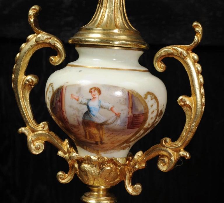 Large Ormolu and Sèvres Porcelain Rococo Antique Clock Set For Sale 11