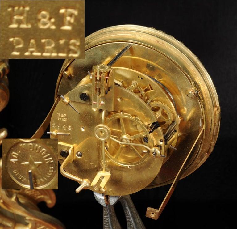 Large Ormolu and Sèvres Porcelain Rococo Antique Clock Set For Sale 14