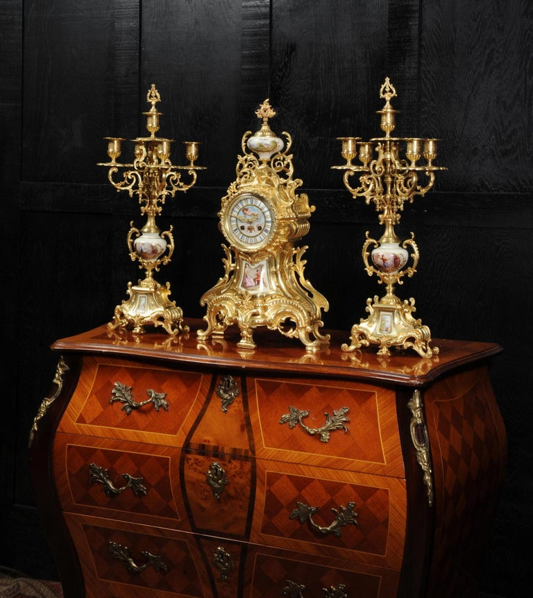 19th Century Large Ormolu and Sèvres Porcelain Rococo Antique Clock Set For Sale