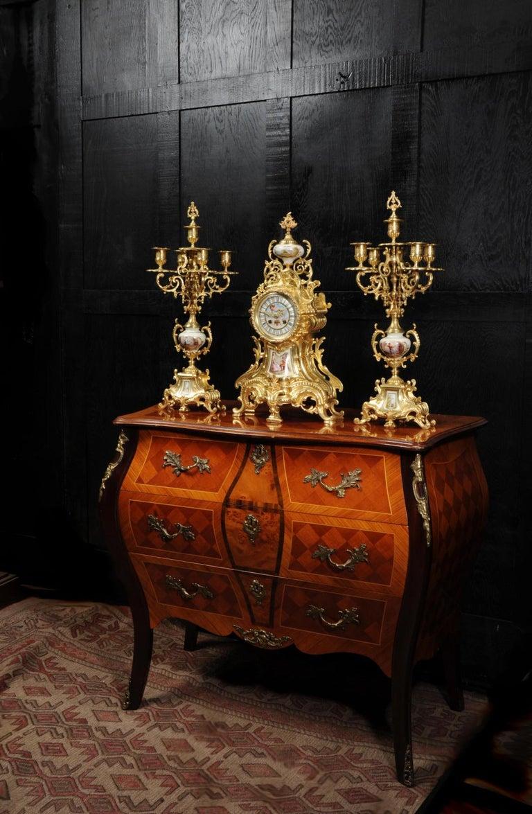 Large Ormolu and Sèvres Porcelain Rococo Antique Clock Set For Sale 1