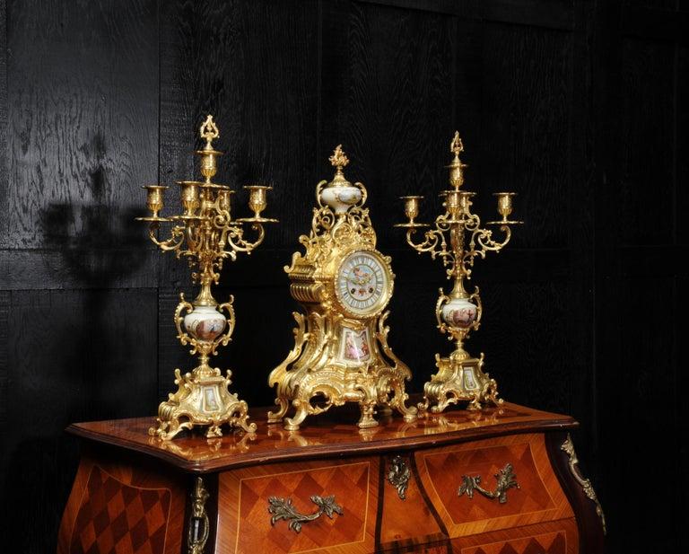 Large Ormolu and Sèvres Porcelain Rococo Antique Clock Set For Sale 2