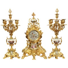 Large Ormolu and Sèvres Porcelain Rococo Antique Clock Set