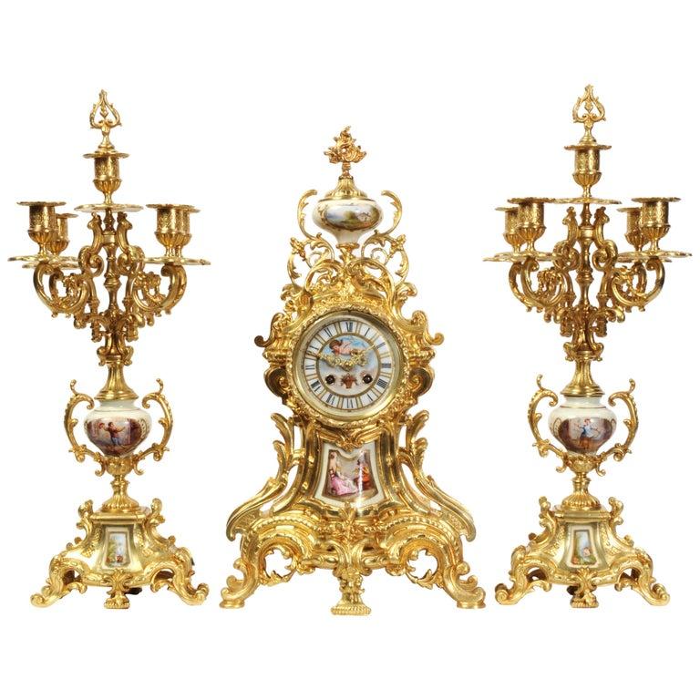 Large Ormolu and Sèvres Porcelain Rococo Antique Clock Set For Sale