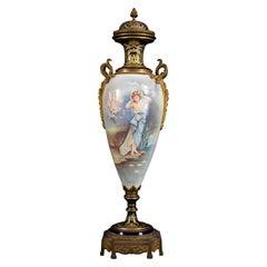 Large Ormolu-Mounted Sèvres Stile Porcelain Cobalt-Blue Vase and Cover