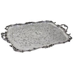 Large Ornate Antique Christofle Silver Plated Serving Tray
