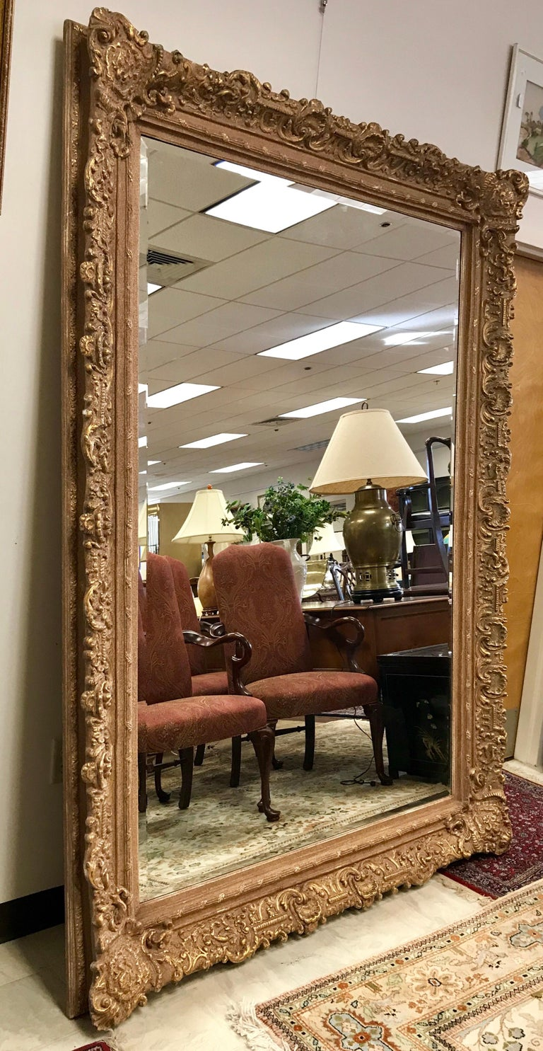Large Ornate Carved Gilt Gold Baroque Full Length Mirror Floor To