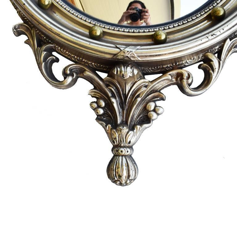 American Large Ornate Federal Admiral Eagle Convex Mirror For Sale