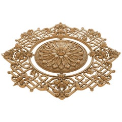 Large Ornate Hand Carved Wood Rosette for Interior