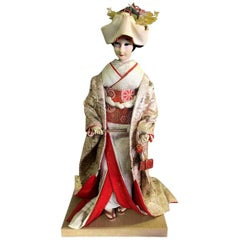 Large Ornate Japanese Geisha Doll on Wood Display Stand