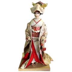 Large Ornate Japanese Geisha Doll on Wood Display Stand