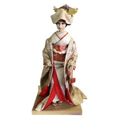 Large Ornate Japanese Geisha Doll on Wood Stand