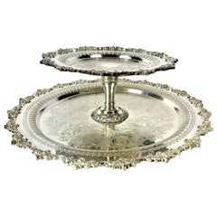 Large Ornate Silver Plate Two Tier Lazy Susan Centerpiece