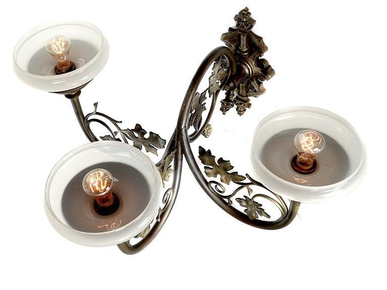 Art Nouveau Large Ornate Triple Vaseline Glass Sconce For Sale