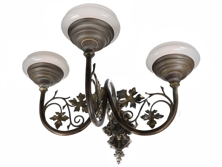 Large Ornate Triple Vaseline Glass Sconce In Good Condition For Sale In Peekskill, NY