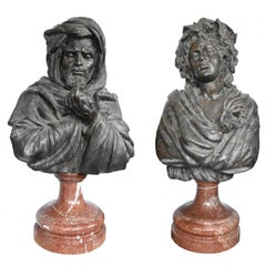 Large Othello and Desdemona Bronze Busts on Red Marble Bases
