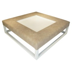 Large Ottoman/Coffee Table with Italian Leather & Lacquered Legs & Recessed Tray