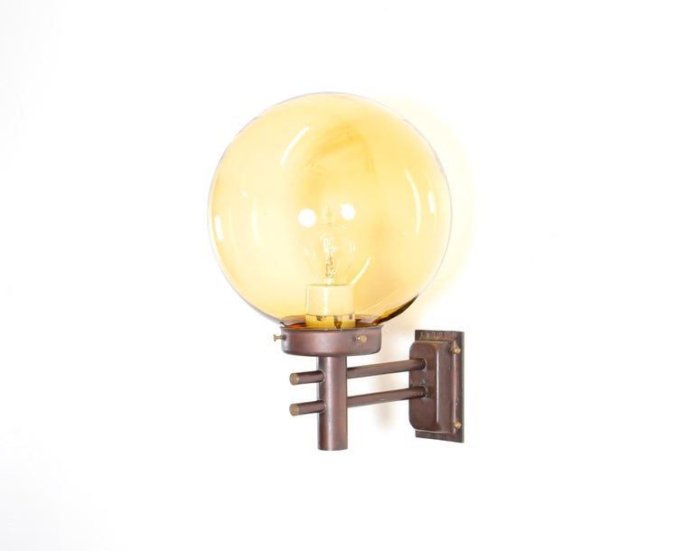 Mid-Century Modern Large Outdoor Scandinavian Wall Light in Copper, Norway, 1970s For Sale
