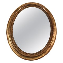 Large Oval 19th Century French Giltwood Mirror