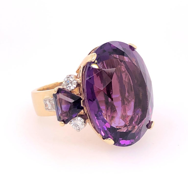 Modern Large Oval Amethyst and Diamond Yellow Gold Ring For Sale