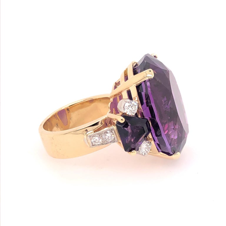 Oval Cut Large Oval Amethyst and Diamond Yellow Gold Ring For Sale