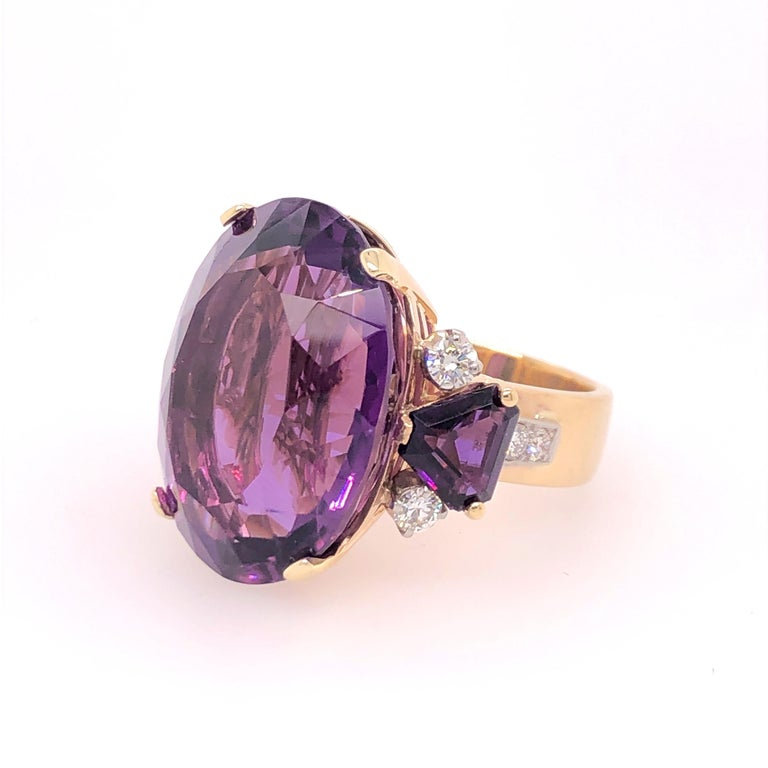 Women's Large Oval Amethyst and Diamond Yellow Gold Ring For Sale