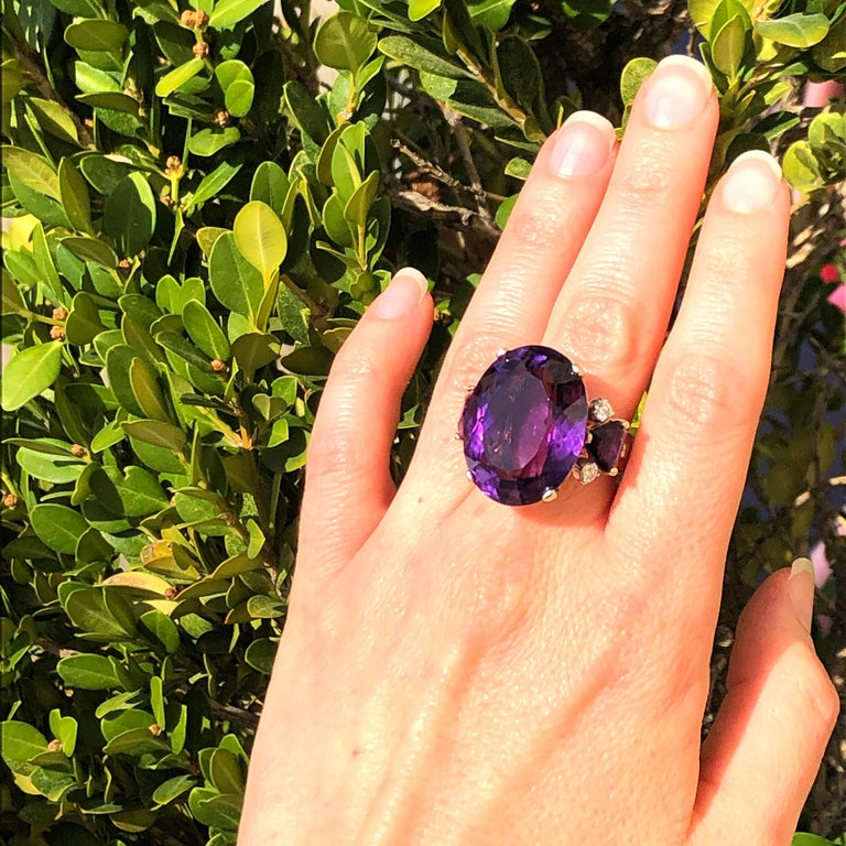 Large Oval Amethyst and Diamond Yellow Gold Ring For Sale 2